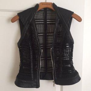 Bebe geometric cut out leather vest
